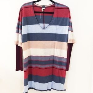 We the Free Oversized Striped Tunic Tee M